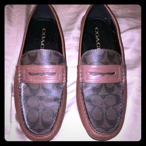 Coach Mott Penny Signature Loafer Shoes Mahogany